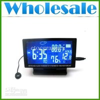 Wholesale Lots50 V LCD Screen Digital Clock Car Voltage Thermometer Hygrometer Black Weather Forecast Top