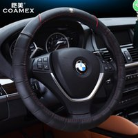 Wholesale Free shiping Steering Wheel Covers with Genuine Leather diameter cm Spoke Wheel Car Interior Ford Nissan Model Mazda Olympic Games