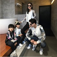 Wholesale 2016 Autumn Winter Family Matching Outfits Mom Dad Children Peacock Sleeve Patchwork Baseball Jacket Family Look Clothing