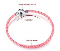 basic beads - DIY Pandora genuine leather bracelet mm silver Basic Bracelets cm cm leather rope chain Fit European Charm Beads