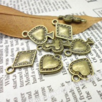 antique playing cards - Mix Vintage Charms playing card Pendant Antique bronze Fit Bracelets Necklace DIY Metal Jewelry Making