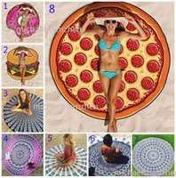 Wholesale 23 Design CM Round Beach Towel Bohemian Style Chiffon Fabric Beach Towels Round Printed Serviette Covers for Summer Yoga Beach mat B001