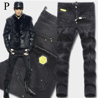 achat en gros de pantalon de cow-boy jaune-Euro Brand Name Men Black Stretch Jeans Tidy Biker Denim Jean Paint Spot Damage Slim Fit Pantalons Cowboy Affligés Man Yellow Metal Patch