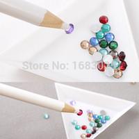 Wholesale Brand New Rhinestones Picker Pencil Nail Art Tool Wax White Pen For Craft Gem Crystal