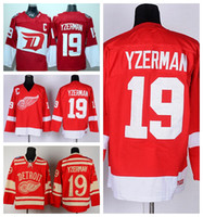 alternate hockey jerseys - Detroit Red Wings Steve Yzerman Stadium Series Jerseys Ice Hockey Throwback Winter Classic Red Team Color Alternate White