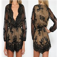 Wholesale This year new arrival fashion explosion Jumpsuit Europe deep V lace long sleeved pants sequined shorts S M L XL size