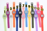 battery alarm clock - Men women F W watches f91 fashion Ultra thin LED watches alarm clocks color by yoyo store