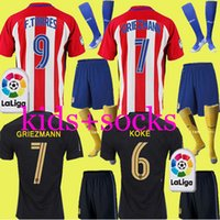 Wholesale New Atletico Madrid Jersey GRIEZMANN home away TORRES ARDA JACKSON thai quality kids kits with socks football shirt soccer jersey