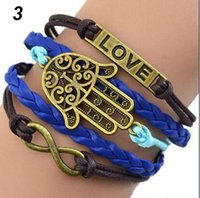 Wholesale Bracelets for Women Mixed style of ancient bronze ivy tower rudder arrow love black hand rope hand woven Ladies bracelets