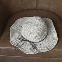 Wholesale Shade leather rope knot uv sun hat empty hat The new beach hat female summer trend