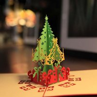 Wholesale Nice New D Handmade Card Greeting Cards Creative Kirigami Origami D Pop UP Greeting Gift Christmas Cards with Christmas Tree Gifts