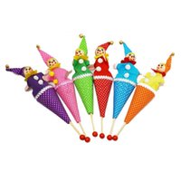 bell pop - 1 Popular Puppets Baby Kids Smiley Face Clown Puppet Toy Bell Hide Seek Pop Up Telescopic Educational Toys