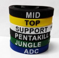 Wholesale Retail LOL GAMES Souvenirs Silicone Wristband LEAGUE of LEGENDS Bracelets with ADC JUNGLE MID SUPPORT TOP New style Carving