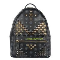 Wholesale Luxury School Bags - 2016 Ladies Backpacks Designer Genuine Leather Backpacks Luxury Handbags Women Fashion School Bags Rivet Backpack Style Totes Sale