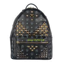 luxury leather handbags - 2016 Ladies Backpacks Designer Genuine Leather Backpacks Luxury Handbags Women Fashion School Bags Rivet Backpack Style Totes Sale