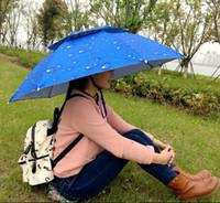 umbrella hat - Hot sale new fashion sky blue raindrop creative design fishing foldable umbrella household hat windproof rainproof sunscreen camping hunting