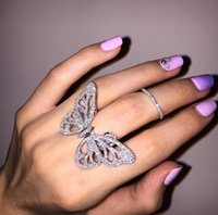 african butterflies - 925 Sterling Silver Rings Finger moving Butterfly Clear white Zircon For Women Ring Wedding Party Birthday Timeless Elegant Fashion Jewelry
