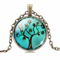 art halloween party - Life Tree Pendant Necklace Art Tree glass cabochon Necklace Bronze chain vintage choker statement Necklace women Jewelry