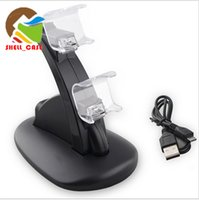 Wholesale XBOX ONE PS4 LED Dual Charger Dock Mount station USB Charging For PS4 Xbox One gamepad Wireless Controller With Retail Box