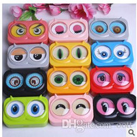 Wholesale New cool cat contact lens case for eyes cute plastic lenses box cartoon color eyewear cases suit women