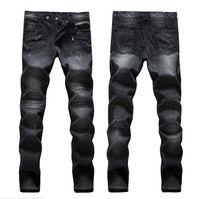 american vintage jeans - BALMAIN Men s Biker Skinny Jeans Plus Size men Vintage Retro Distressed Hole Slim Jeans Ripped Denim Mens Famous Brand Designer JN33
