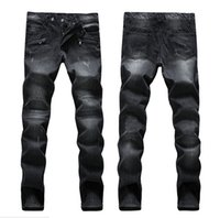 colored buttons - Men s Balmain Biker Skinny Jeans Plus Size men Vintage Retro Distressed Hole Slim Jeans Ripped Denim Mens Famous Brand Designer JN33