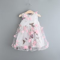 Wholesale 2016 pieces Cute Baby Kids Girls Princess Sequins Tulle Tutu Casual Summer One pieces floral Dress
