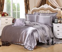 Wholesale Hot Silk Quilt Black Satin Bedding Set Twin Queen King Size Solid Satin Bedsheets Duvet Cover Set