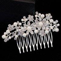 Wholesale New Fashion Pearl Wedding Hair Jewelry for Bridal Charming Rhinestone Flower Hair Comb Hairpins Hair Accessories F1621