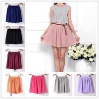 Wholesale 2016 New Chiffon Mini Skirts For Women Solid Pleated High Waist Skirts Plus Size Women s Dresses Fashion Wild Summer Skirt