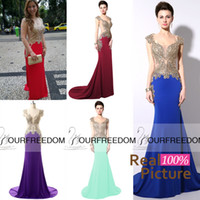 apple shows - YD003 Buyer Show Mermaid Prom Party Dresses Gold Beads Sheer Neck Scoop Burgundy Royal Blue Formal Occasion Evening Gowns Real Image