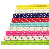 Wholesale Drinking stars Paper Straws white stars for Wedding Christmas decoration supplies Kids Birthday Party colors