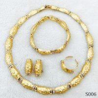 Wholesale Classical New K Yellow Gold Plated Necklace Earrings Bracelet Ring Jewelry Sets