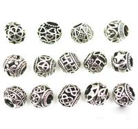 Wholesale 50pcs Fits Pandora Bracelets Beads Stamp alloy crstal Charms Big Hole Loose Beads For Diy European Bracelets