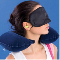 airplane travel kits - 3 in Outdoor Camping Car Airplane Travel Kit Inflatable Neck Pillow Cushion Support Eye Shade Mask Blinder Ear Plugs