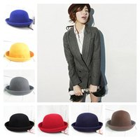 Wholesale Women Top Hats Hat Dome Real Wool Caps Ladies Round Hat Womens Edge Roll Cap colors
