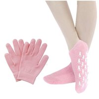 Wholesale Reusable SPA Gel pair Socks pair gloves Moisturizing whitening exfoliating velvet smooth beauty hand foot care silicone socks