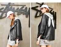 Wholesale 2017 Autumn New Fashionable Ladies Motorcycle PU Leather Jacket Vintage Hot Black Outwear Stylish Coat Casual Slim Brand Zipper Tops FS0869