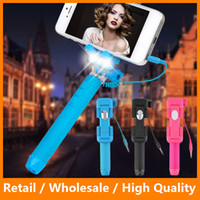 Wholesale Mini Selfie Stick Foldable Mini Wired Selfie Stick Handheld Extendable Monopod With LED Lighting Selfie Stick for Phone
