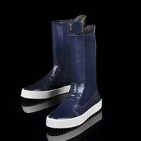 b g fashion - First layer of leather embossed snakeskin top quality brand G logo Mens fashion high boots In stock