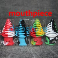 Wholesale 5 PIECES Tower Shape Silicone Mouthpiece Cover Rubber Drip Silicone Mouth Piece for Dry Herb Atomzier Silicone Containers FREE ship