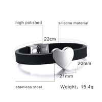 Wholesale Sale Fashion Silicone Bracelet Men Women Stainless Steel Heart Shaped Design Jewelry Punk Hip Hop Bangles
