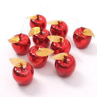 apple fruit trees - 12Pcs Red Golden Apples Christmas Tree Decorations Party Events Fruit Pendant Christmas Hanging Ornament