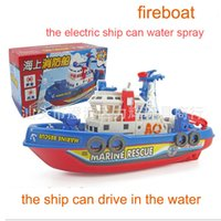 Wholesale Children model toys electric fire fighting ship multifuction music lights spraying water driving on the water DHL