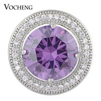 glam - VOCHENG NOOSA mm Luxury CZ Stone Round Snap Button Brass Material Colors Glam Interchangeable Jewelry Vn
