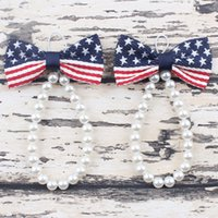 baby foot usa - HOT Newborn Baby Girls Flower Sandals USA Star Flag Pearl Foot Band Toe Rings First Walker Barefoot Sandals th Of July Anklets Accesseries