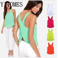 Wholesale YITOMES tanks tops shirt women summer Six color S XL plus size Tanks Camis women candy colored chiffon blouse shirt sexy camisole