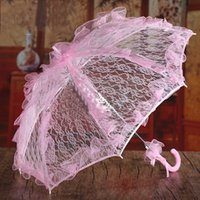 Wholesale 2016 White Lace Umbrella Wedding Decoration Supplies Lace Parasol Umbrellas Wedding Accessories Event Party Supplies Wedding Decorations
