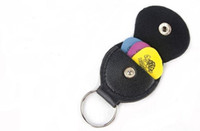 Wholesale Genuine Leather Keychain Guitar Pick Holder Plectrum Bag Black Case H210895