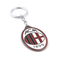 Wholesale Promotion Italy AC Milan bronze key Holder Metal Keychain Football Team Antique Key Chain